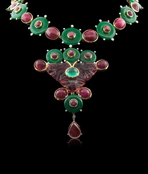Tony Duquette Cabochon Ruby Agate Diamond Necklace