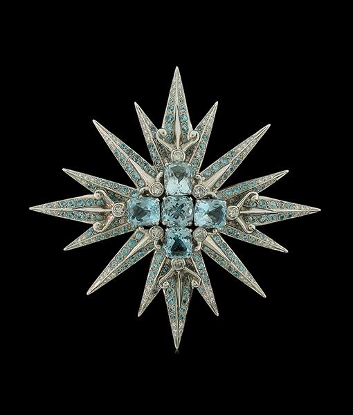 Tony Duquette Aquamarine Blue Zircon Diamond Pendant