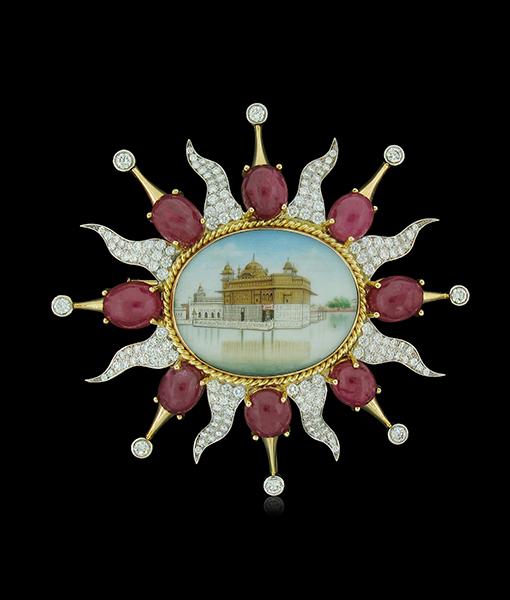 Tony Duquette Bone Plaque Cabochon Ruby Diamond Pendant