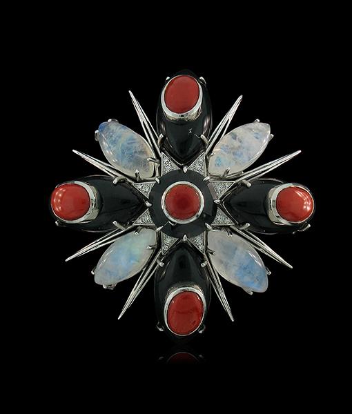 Tony Duquette Black Onyx Moonstone Coral Pendant