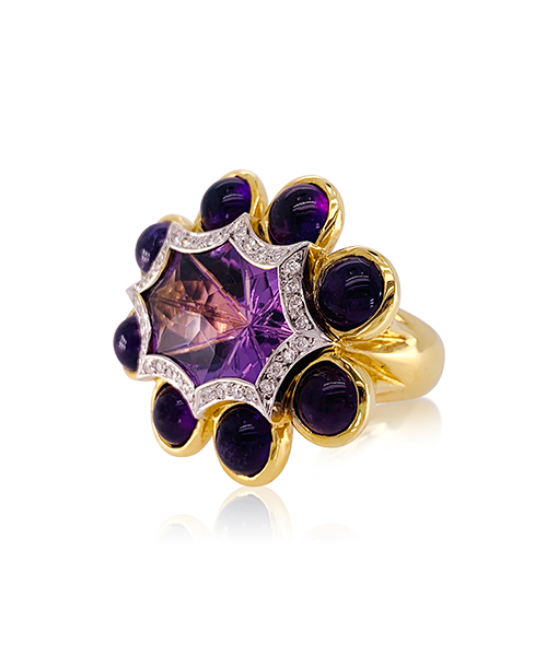 Tony Duquette Amethyst and Diamond Ring