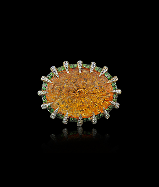 Tony Duquette Citrine tsavorite and Diamond Ring