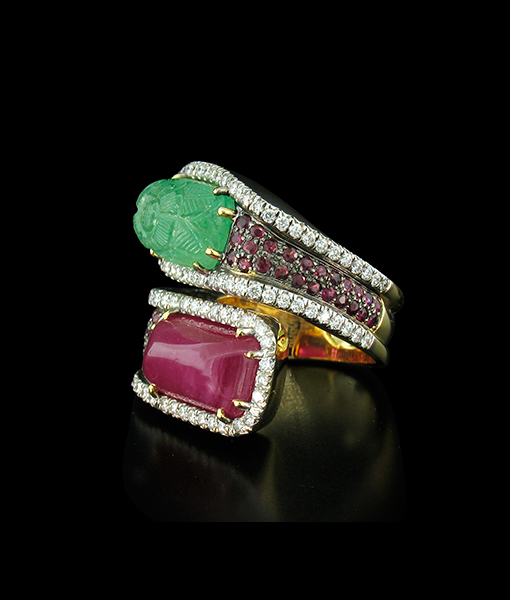 Tony Duquette Carved Emerald Ruby Diamond Ring