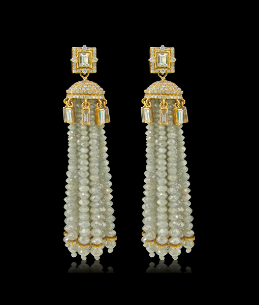 Boutique Designers Diamond Tassel Earrings
