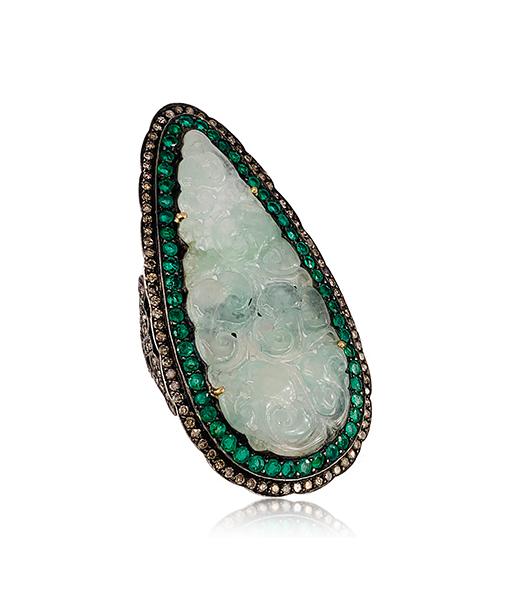 Diamond Emerald Jade Ring