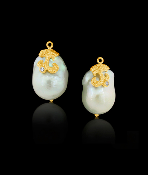 Cayen Baroque Pearl Earring Drops with Diamonds