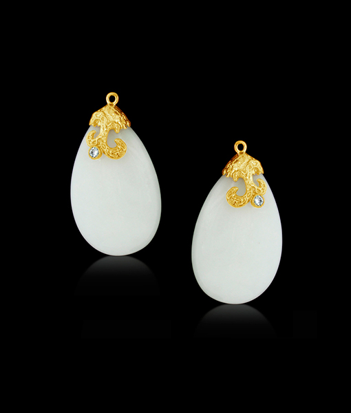 Cayen White Quartzite Drops with Diamonds