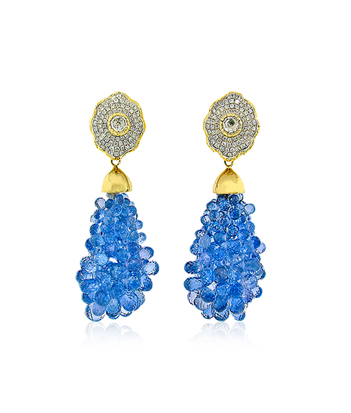 Victor Velyan Blue Sapphire Earring Drops with Diamond Tops