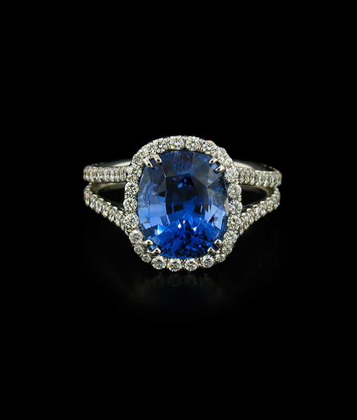 5.07 Carat Ceylon Blue Sapphire and Diamond Ring