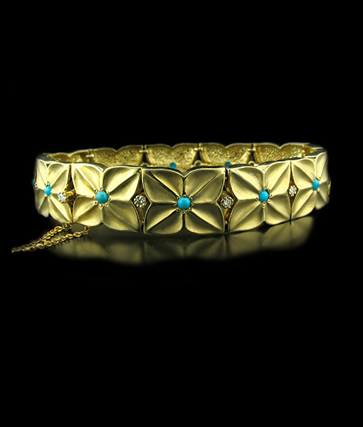 Turquoise and Diamond Gold Bracelet - Sale 40%OFF