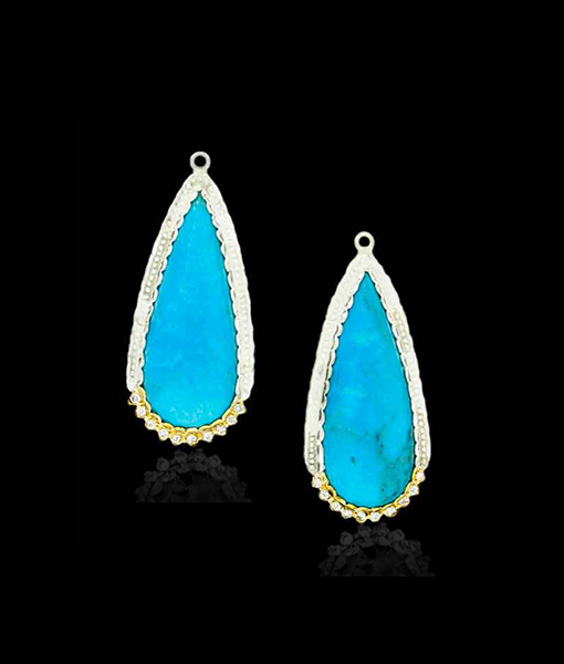Victor Velyan Turquoise and Diamond Earring Drops