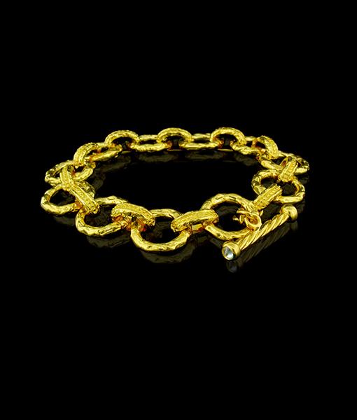 Victor Velyan Gold Link Bracelet with Diamonds
