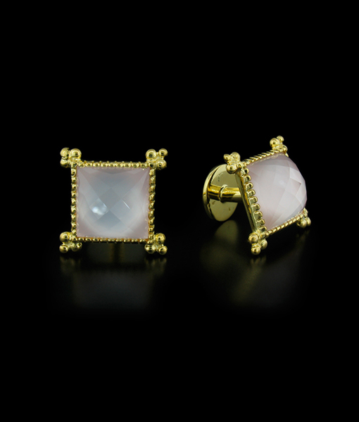 Victor Velyan Mother of Pearl and Rose Quartz Cuff Links