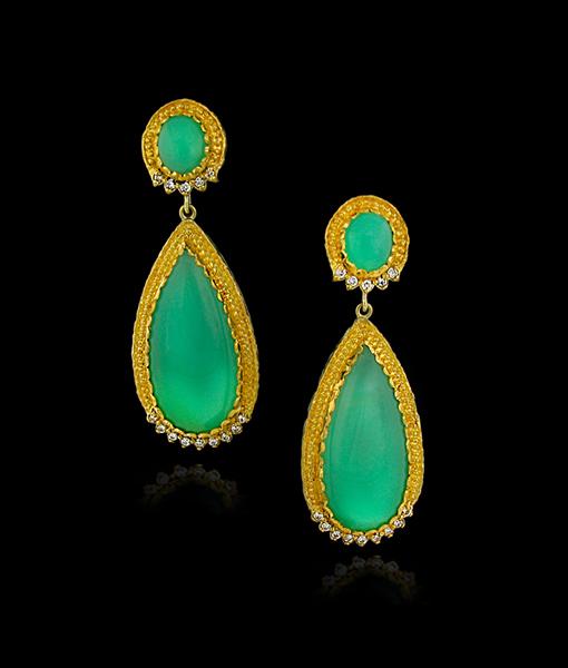 Victor Velyan Green Opal and Diamond Earrings
