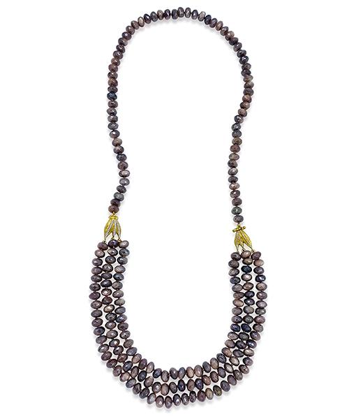 Victor Velyan Cognac Moonstone Necklace #