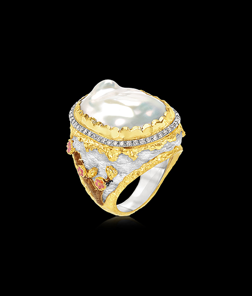Victor Velyan Cherry Blossom Pearl Ring