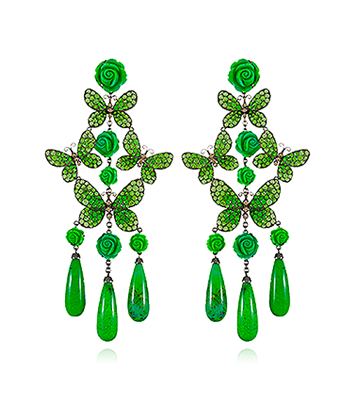Lydia Courteille Green Turquoise Butterfly Earrings