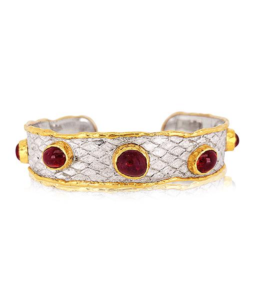 Victor Velyan Red Spinel Python Textured Cuff