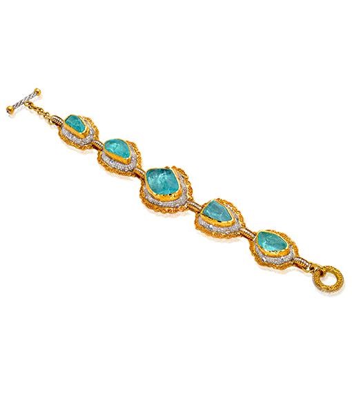 Victor Velyan Paraiba and Diamond Link Bracelet