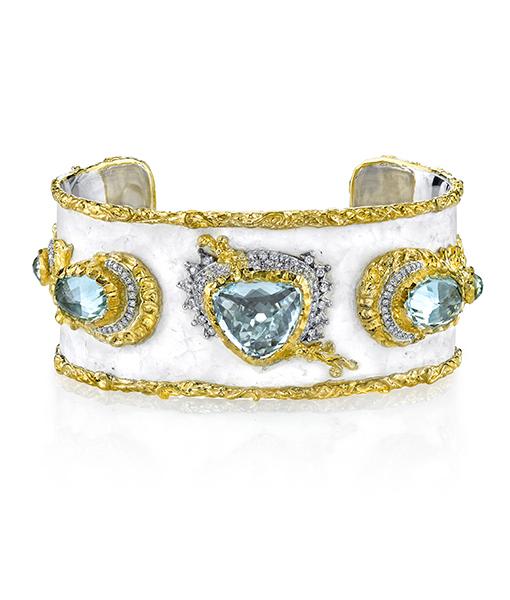Victor Velyan Paraiba Cuff With Diamonds