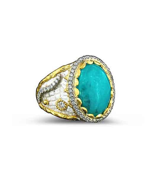 Victor Velyan Brazilian Paraiba and Diamond Ring