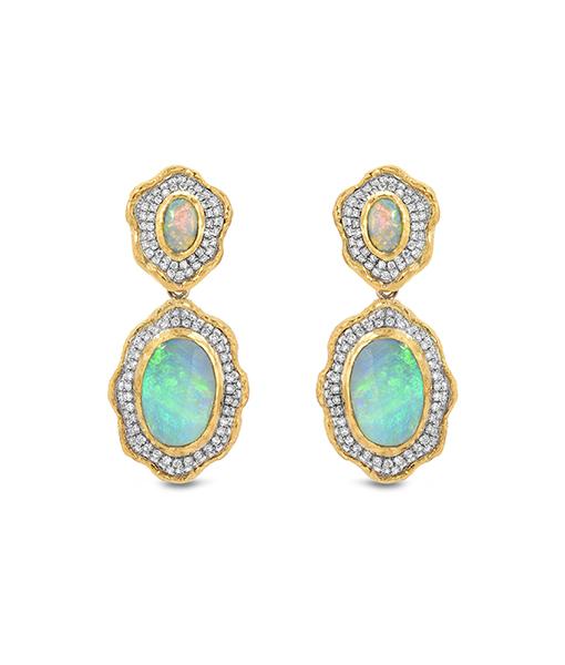 Victor Velyan Black Opal and Diamond Earrings
