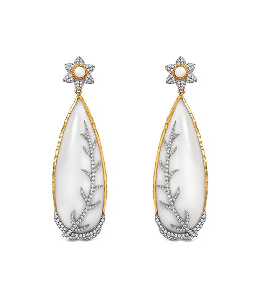 Victor Velyan Cacholong Opal and Diamond Earrings