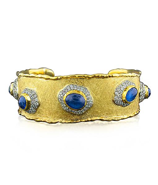 Victor Velyan Burmese Blue Sapphire and Diamond Cuff