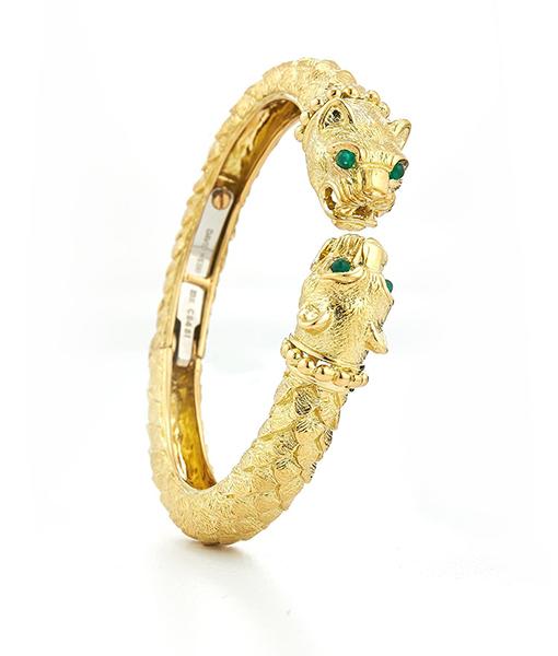 David Webb Greek Lion Emerald Bracelet