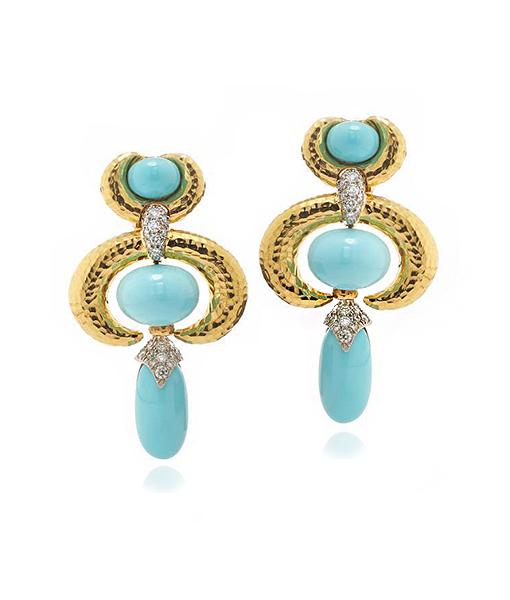 David Webb Turquoise Crescent Earrings