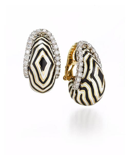 David Webb Vreeland Zebra Earrings