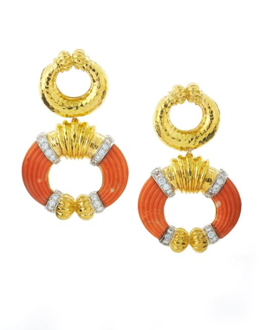 David Webb Coral Celtic Crescent Earrings