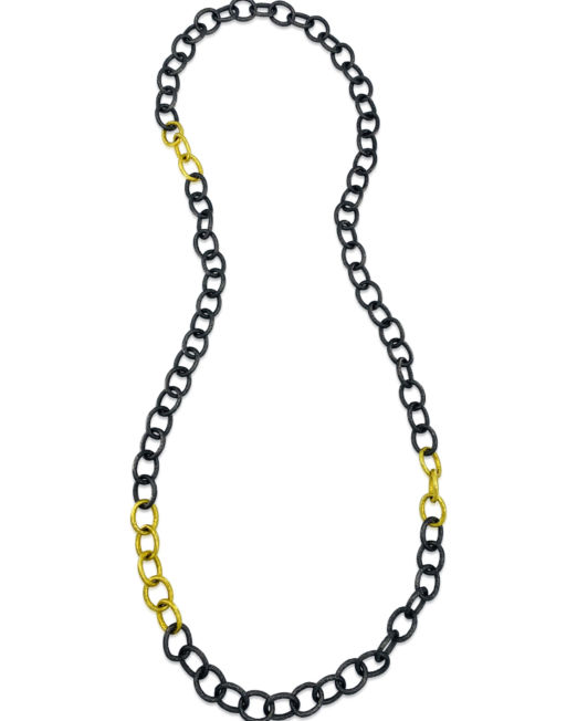 Long Blackened Silver & Gold Link Chain