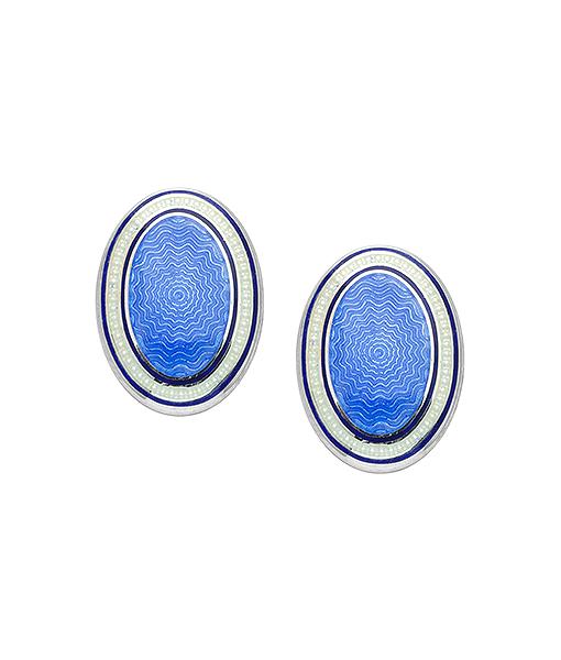 Deakin & Francis Small Domed Oval Sky Blue Enamel Spring Link Cufflinks
