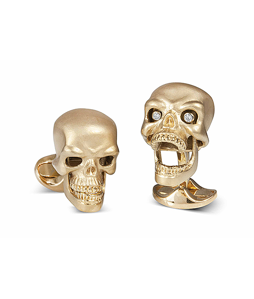 Deakin & Francis Gold Plated Sterling Silver Skull Cufflinks with Diamond Eyes
