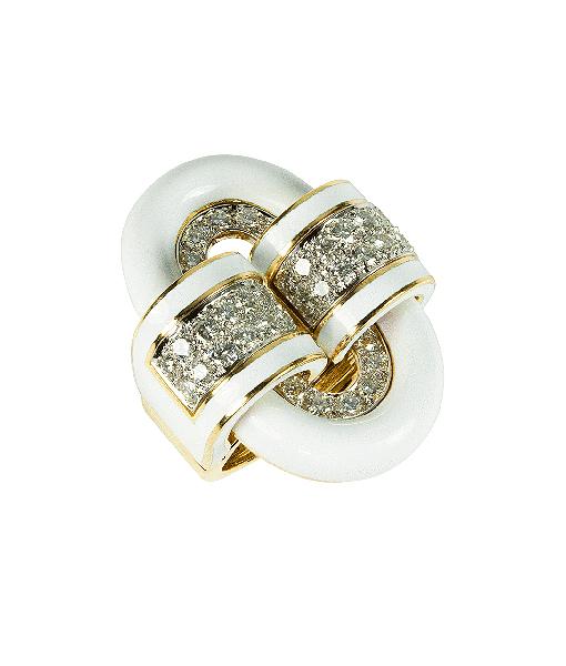 David Webb Buckle Diamond and White Enamel Ring