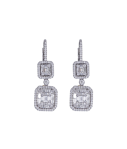 Zydo Dangle Mosaic Diamond Earrings