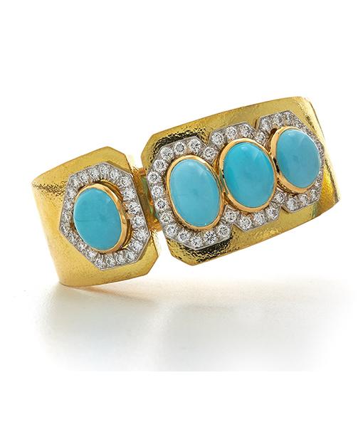 David Webb Turquoise and Diamond Cuff