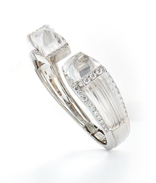 David Webb Carved Rock Crystal and Diamond Bracelet
