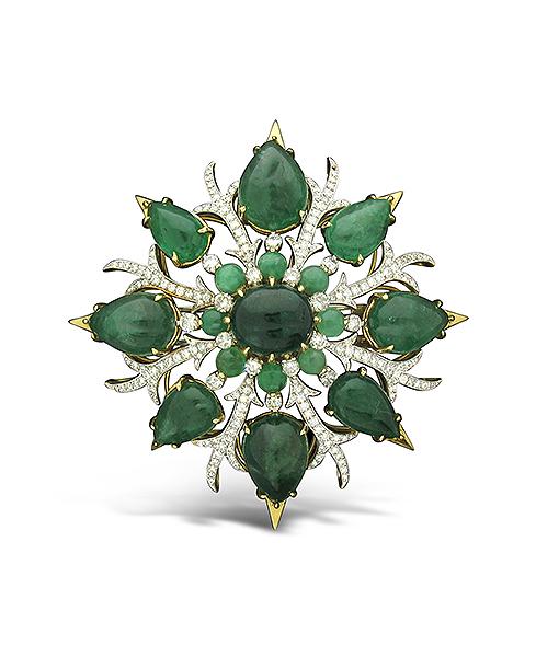 Tony Duquette Emerald and Diamond Pendant
