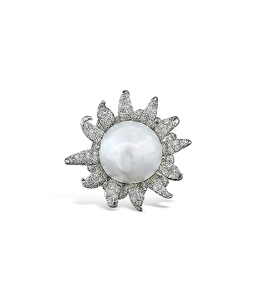 Tony Duquette Pearl and Diamond Ring