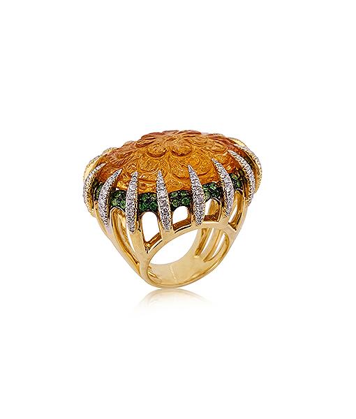 Tony Duquette Citrine tsavorite and Diamond Ring