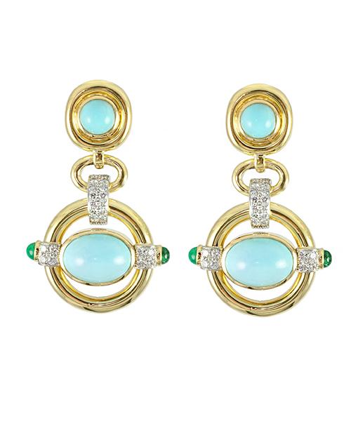 David Webb Turquoise Orbit Earrings