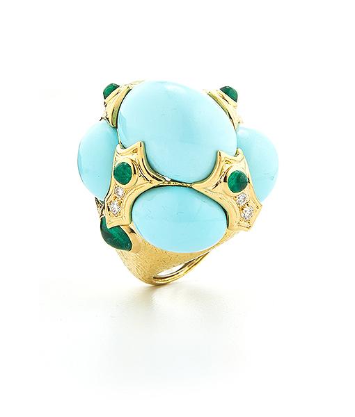 David Webb Turban Turquoise Ring