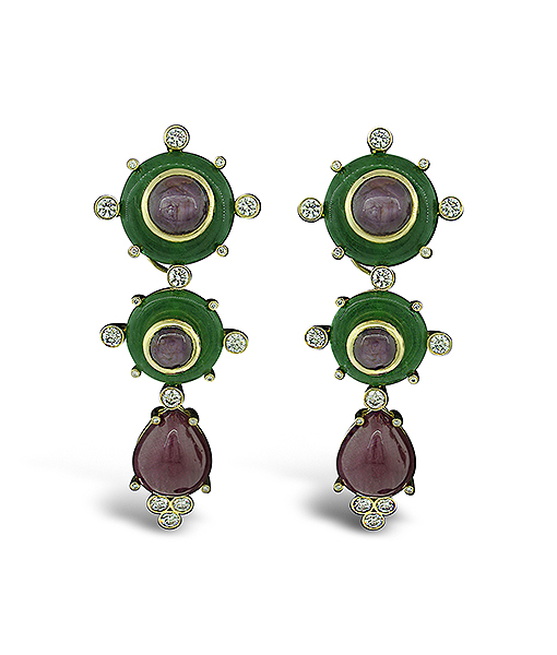 Tony Duquette Star Ruby Agate and Diamond Earrings