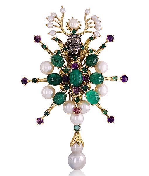 Tony Duquette Emerald Amethyst Diamond Pendant
