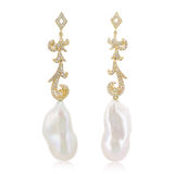 Long Diamond Earrings with Pearl Drops