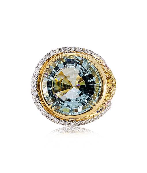 Tony Duquette Aquamarine and Diamond Ring with Sapphires