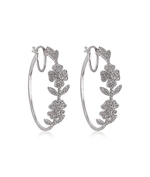 Cayen Flower Hoop Diamond Earrings