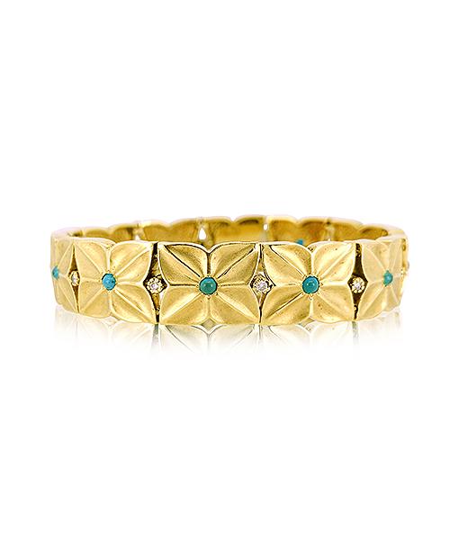 Turquoise and Diamond Gold Bracelet